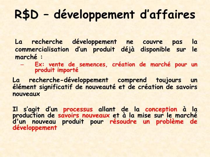 R$D – développement d'affaires