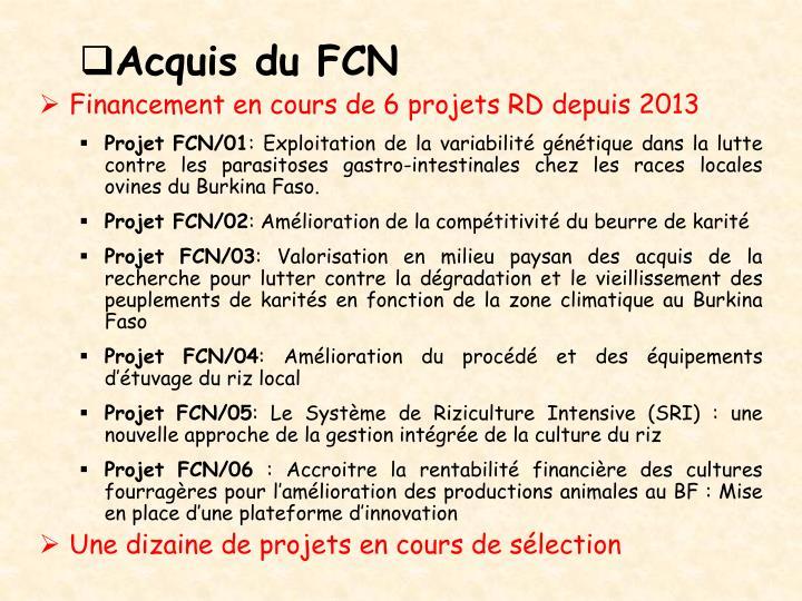 Acquis du FCN