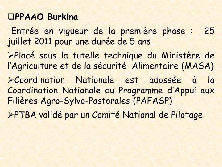 PPAAO Burkina