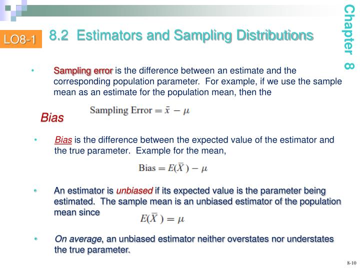 8.2  Estimators and Sampling Distributions