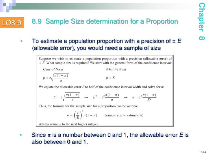 To estimate a population proportion with a precision of ±