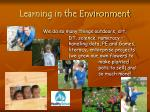 learning in the environment