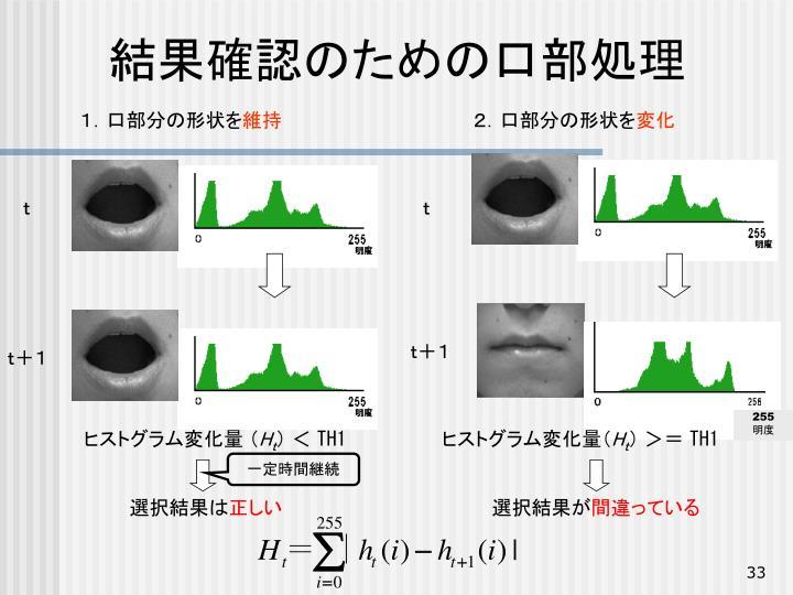 結果確認のための口部処理