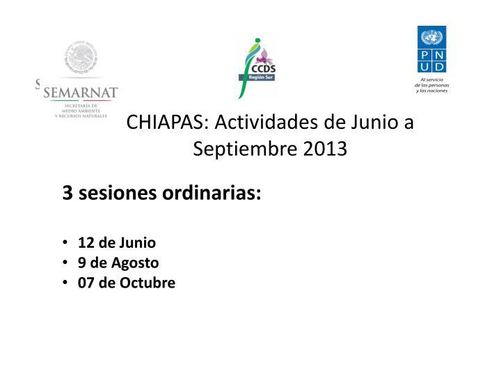 CHIAPAS: Actividades de Junio a Septiembre 2013