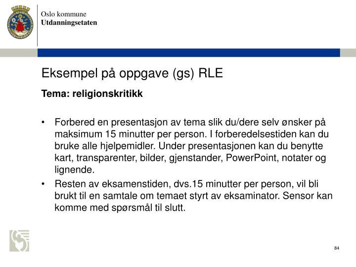 Eksempel p oppgave (gs) RLE