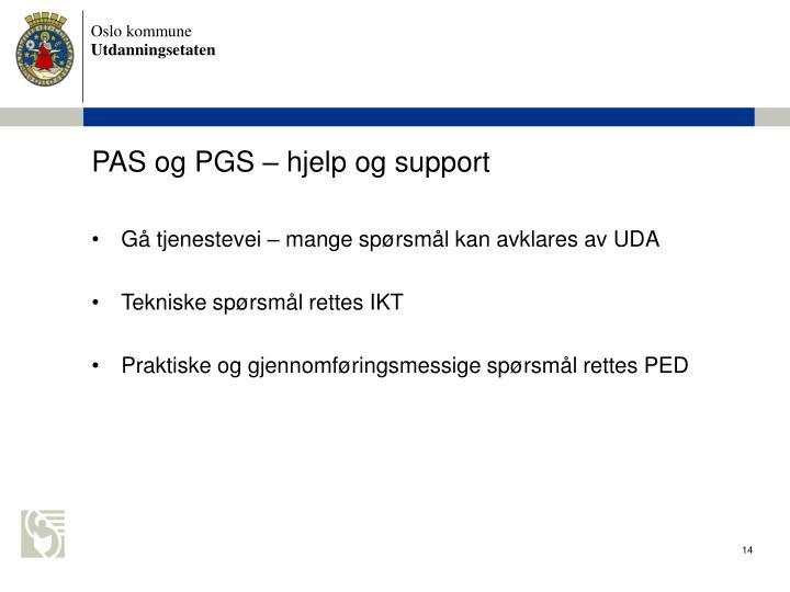 PAS og PGS  hjelp og support