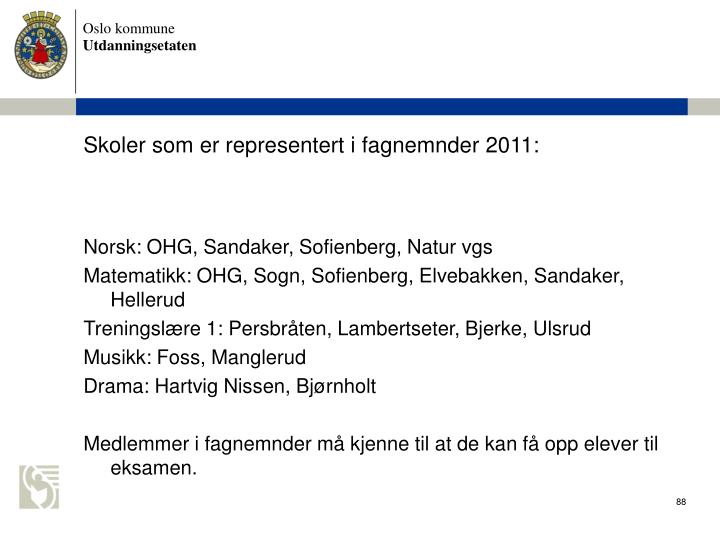 Skoler som er representert i fagnemnder 2011: