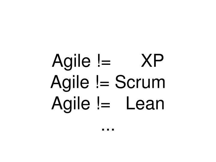 Agile !=      XP