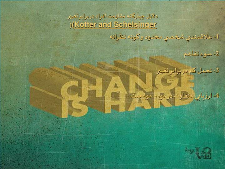 دلايل چهارگانه مقاومت افراد در برابر تغيير