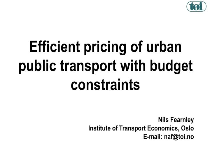 Efficient pricing of urban public transport with budget constraints