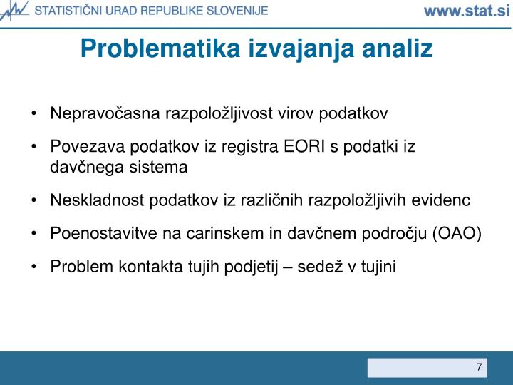 Problematika izvajanja analiz