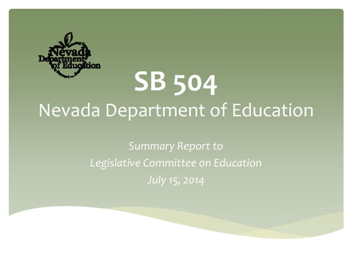 Sb 504 nevada department of education