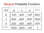 marginal probability functions