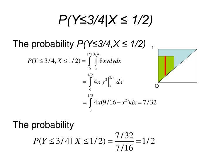 P(Y≤3/4|X ≤ 1/2)