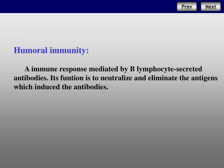 Humoral immunity: