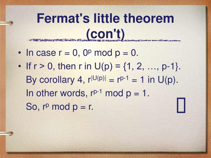 Fermat's little theorem (con't)