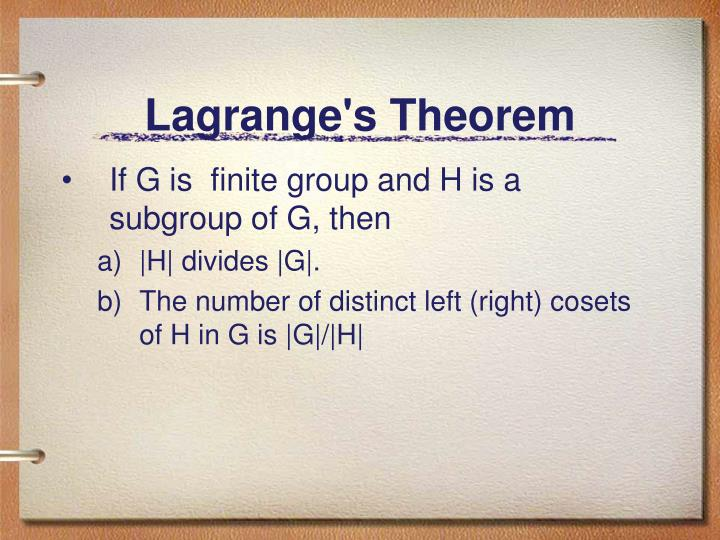 Lagrange's Theorem