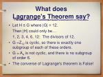 what does lagrange s theorem say