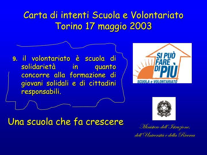 Carta di intenti Scuola e Volontariato Torino 17 maggio 2003