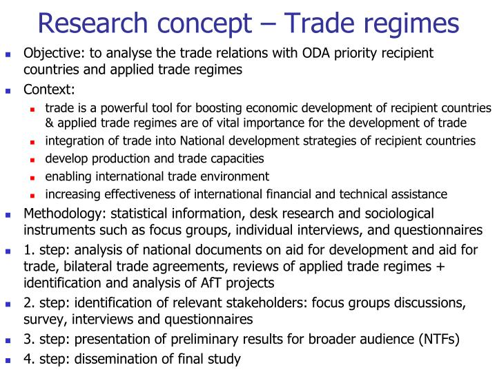Research concept – Trade regimes