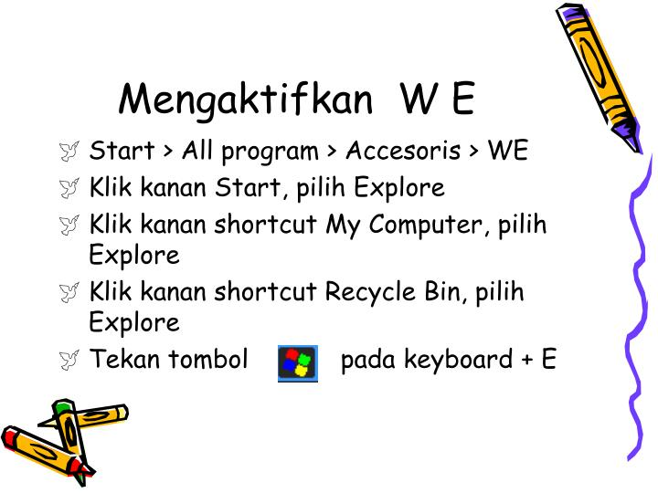 Mengaktifkan  W E