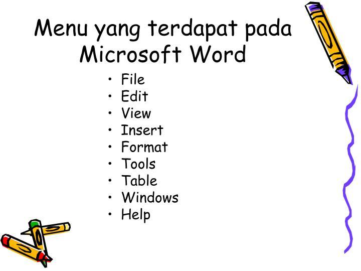 Menu yang terdapat pada Microsoft Word