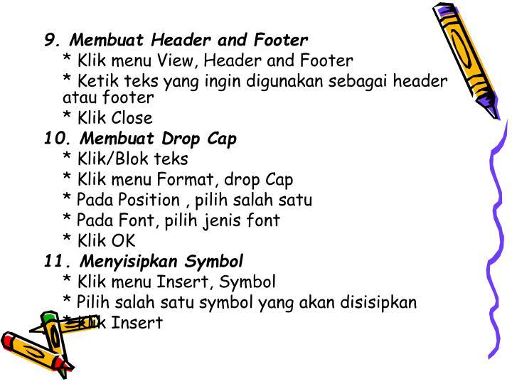 9. Membuat Header and Footer