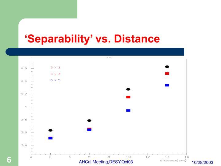'Separability' vs. Distance