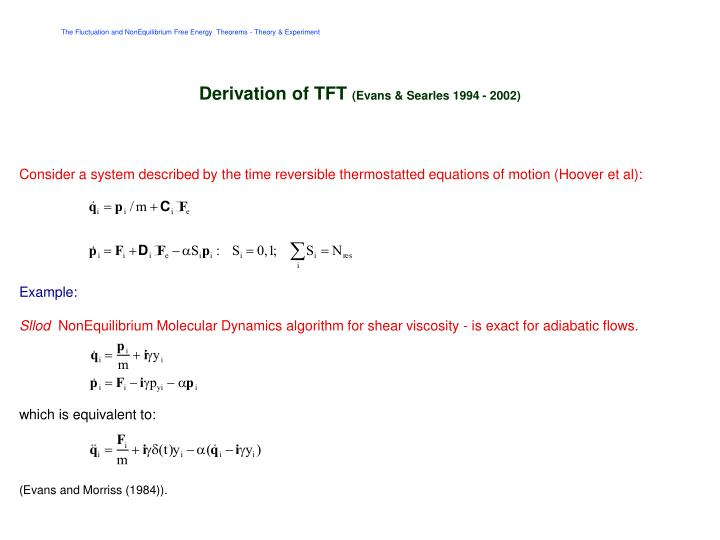 Derivation of TFT