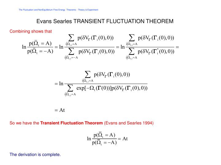 Evans Searles TRANSIENT FLUCTUATION THEOREM