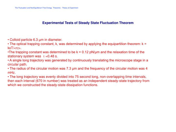 Experimental Tests of Steady State Fluctuation Theorem