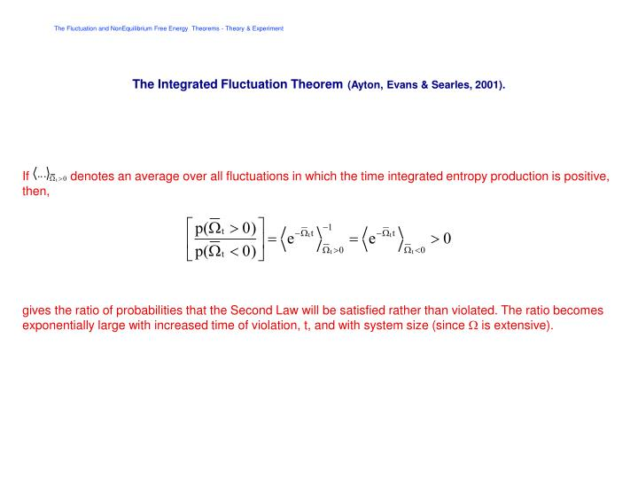 The Integrated Fluctuation Theorem