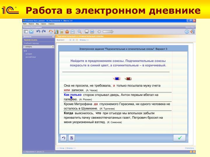 Работа в электронном дневнике