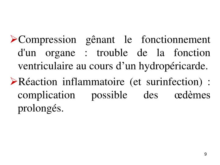 Compression gnant le fonctionnement d'un organe : trouble de la fonction ventriculaire au cours dun hydropricarde.
