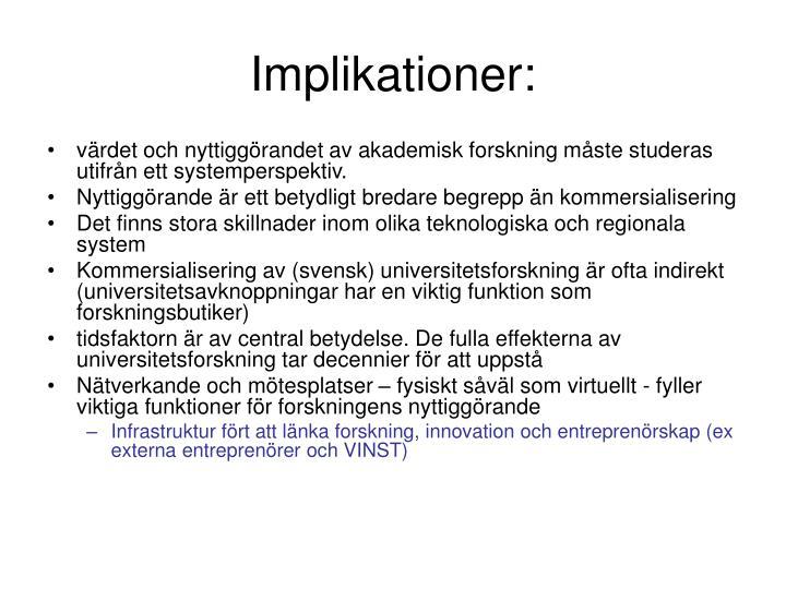 Implikationer: