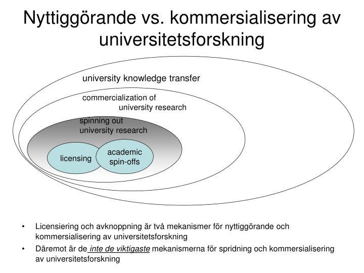 Nyttiggörande vs. kommersialisering av universitetsforskning
