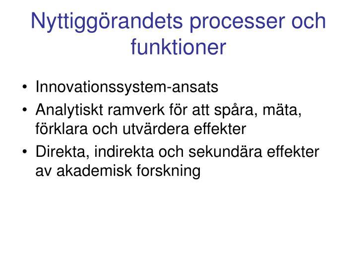 Nyttiggörandets processer och funktioner
