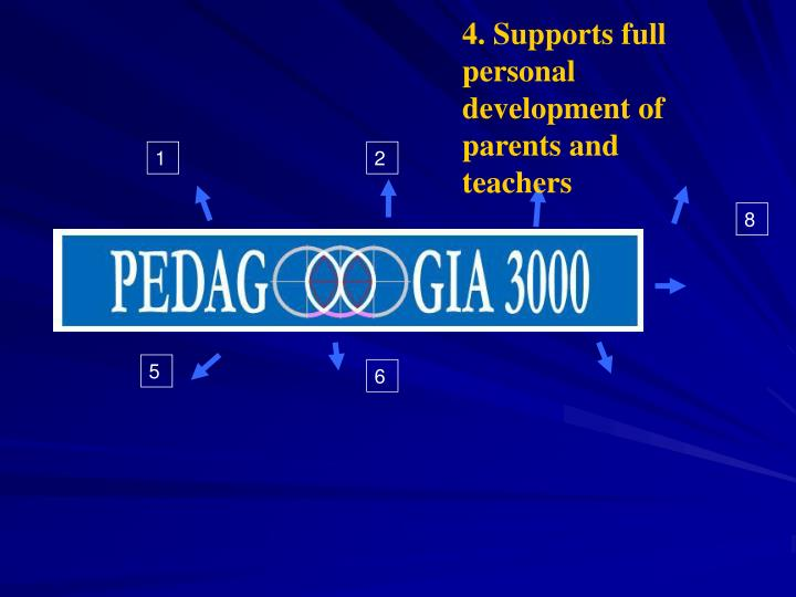 4. Supports full personal development of parents and teachers