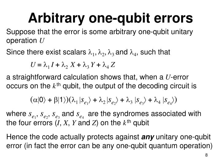 Arbitrary one-qubit errors