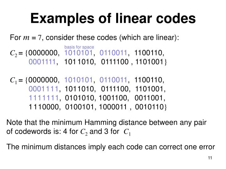 Examples of linear codes