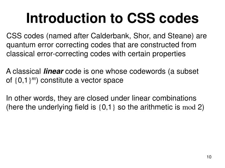Introduction to CSS codes