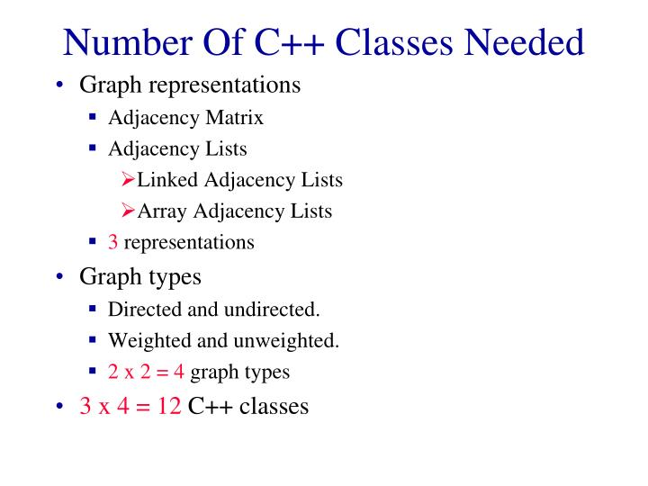 Number Of C++ Classes Needed