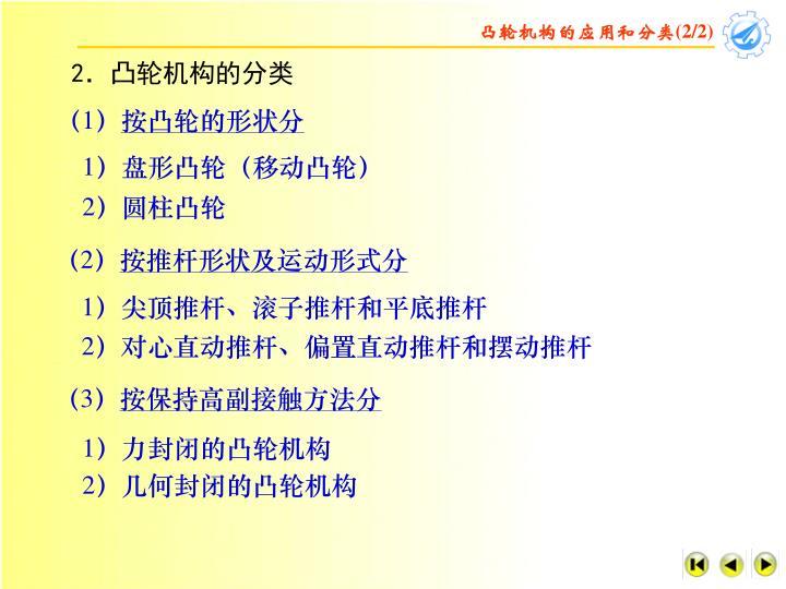 凸轮机构的应用和分类