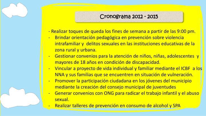 Cronograma 2012 - 2015