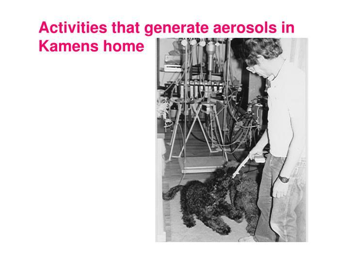 Activities that generate aerosols in Kamens home