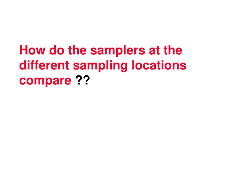 How do the samplers at the different sampling locations compare
