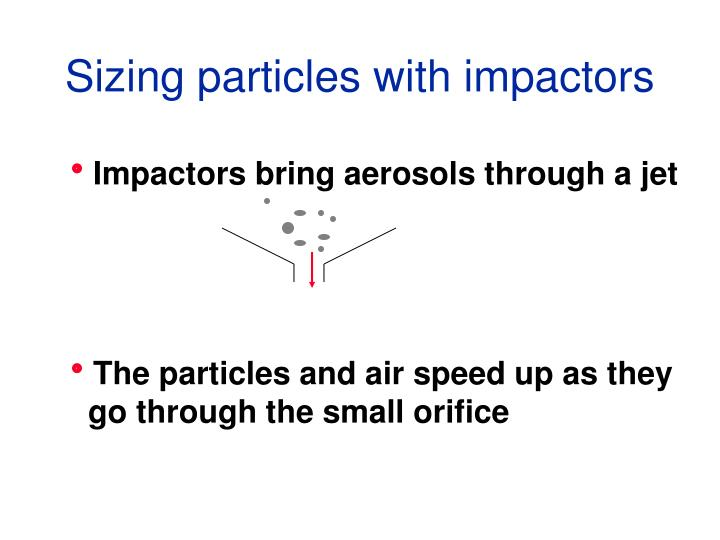 Sizing particles with impactors