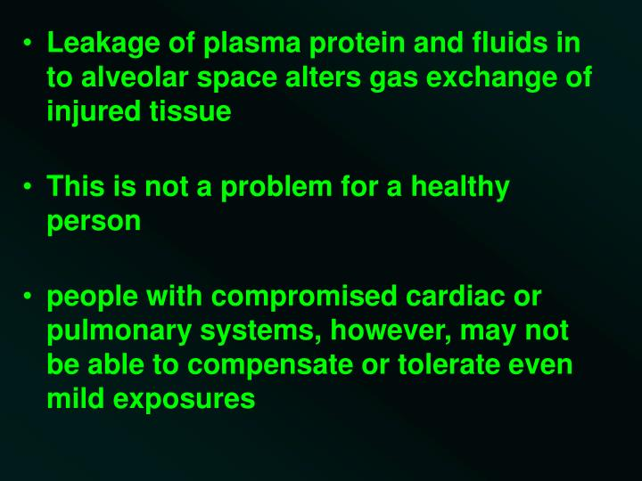 Leakage of plasma protein and fluids in to alveolar space alters gas exchange of injured tissue