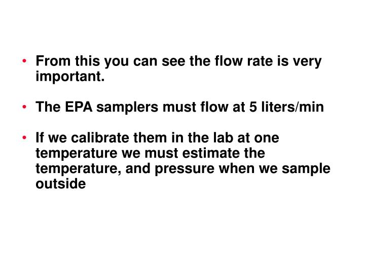 From this you can see the flow rate is very important.