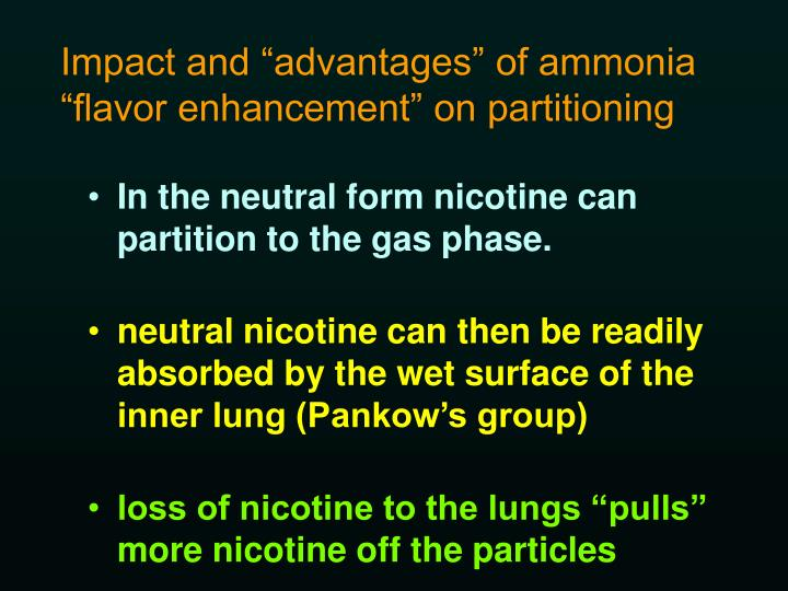 """Impact and """"advantages"""" of ammonia """"flavor enhancement"""" on partitioning"""
